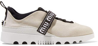 Miu Miu Logo-embroidered Neoprene And Rubber Sneakers - Cream