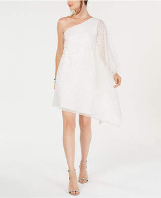 Adrianna Papell Sequin One-Shoulder Dress