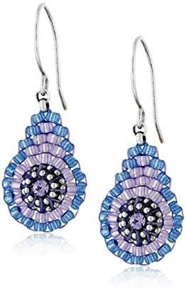 Miguel Ases Blue and Purple Miyuki Bead Mini Tear Drop Earrings