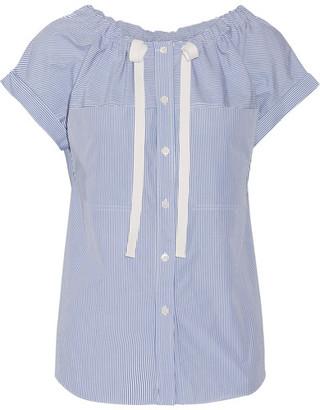 Theory - Velvela Gathered Striped Cotton-poplin Top - Blue $255 thestylecure.com