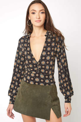 Free People Sydney's Printed Deep V Blouse