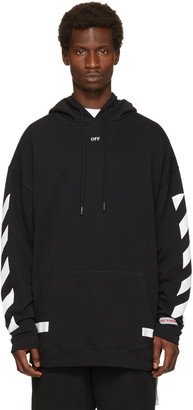 Off-White Black Diagonal Arrows Over Hoodie $520 thestylecure.com