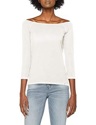 Esprit edc by Women's 128cc1k015 Long Sleeve Top, (White 110), X-Large