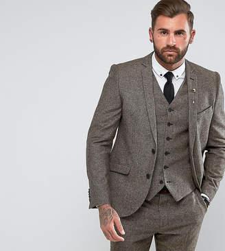 Heart & Dagger Slim Suit Jacket In Herringbone Tweed
