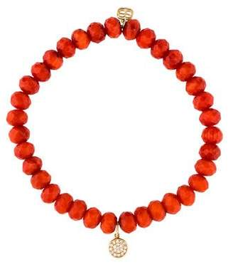 Sydney Evan Coral & Diamond Charm Bead Bracelet
