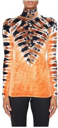 Proenza Schouler Velvet Jersey Tie-Dye Turtleneck Top