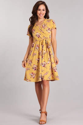 Chris & Carol Mustard Floral Wrap-Dress