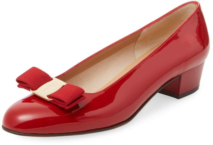 Salvatore Ferragamo Women's Vara Patent Leather Block Heel Pump