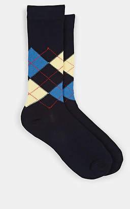 Barneys New York Men's Argyle-Print Cotton-Blend Mid-Calf Socks - Navy