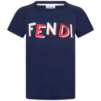 Fendi FendiBoys Navy Logo Print Top