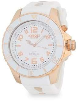 Rose Goldtone Stainless Steel Silicone Strap Watch