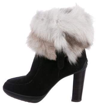 Tod's Suede Fur-Trimmed Boots