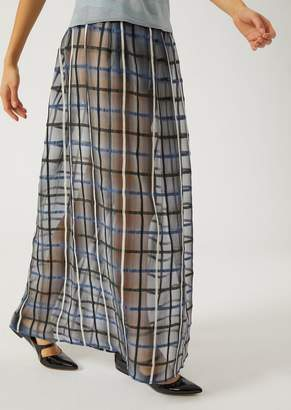 Emporio Armani Linen And Silk Jacquard Skirt With Maxi-Check Pattern