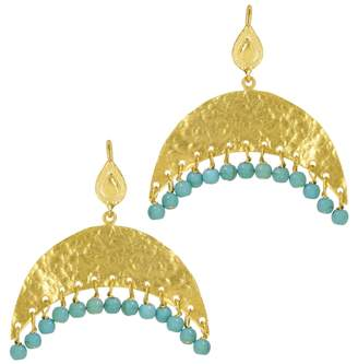 Ottoman Hands - Hammered Crescent and Turquoise Beaded Earrings