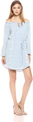 Blu Pepper Women's Embroidered Off The Shoulder Flare Sleeve Dress