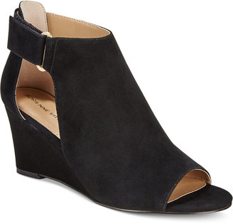 Adrienne Vittadini Riva Cutout Ankle Wedge Sandals Women's Shoes $110 thestylecure.com