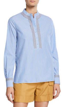 Piazza Sempione Mandarin-Collar Button-Front Shirt