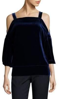 Tibi Velvet Cold-Shoulder Top