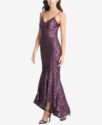 Vince Camuto High-Low Sequin Gown