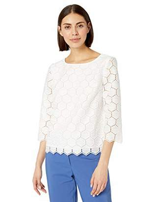 Anne Klein Women's GEO LACE 3/4 Sleeve Blouse