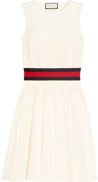 Gucci - Jersey-trimmed Pleated Twill Mini Dress - Ivory