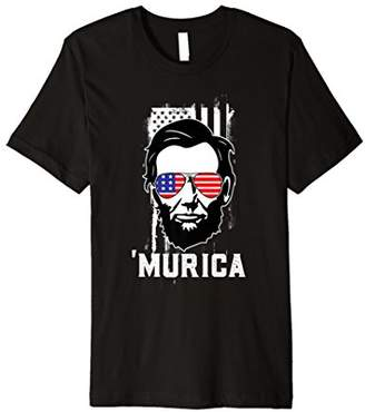 Funny 4th Of July Shirt Murica Merica Lincoln USA Flag