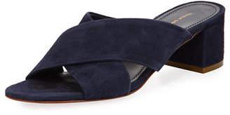 Mansur Gavriel Suede Crisscross 40mm Slide Sandals