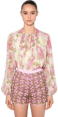 Giambattista Valli Floral Print Silk Georgette Blouse