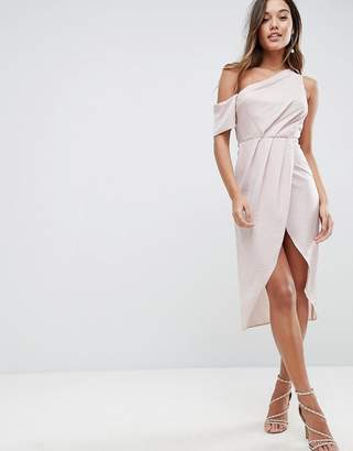 Asos DESIGN One Shoulder Midi Dress in Hammered Satin