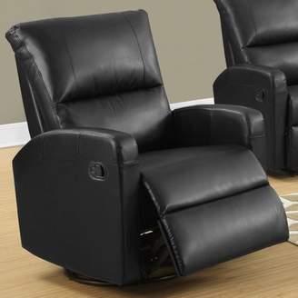 Monarch Specialties Monarch Recliner Swivel Glider / Black Bonded Leather