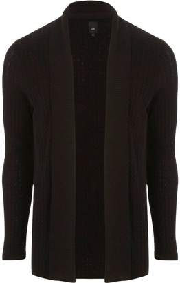 River Island Mens Black cable knit open front cardigan