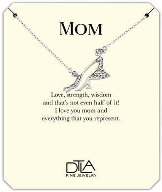 DTLA Fine Jewelry DTLA Mom Necklace in Sterling Silver with Loving Mother Message Card Gift - Playing