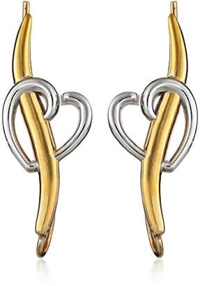 The Ear Pin 10k Two Tone Yellow Gold Pierce My Heart Earrings