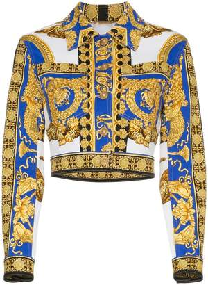 Versace Pillow Talk print cropped denim jacket