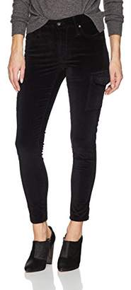 James Jeans Women's J Twiggy Ankle Length Cargo Velveteen Legging in Black Vel
