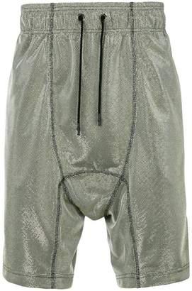 Tom Rebl metallic woven drop crotch shorts