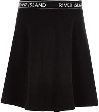 River Island Girls black RI waistband skater skirt