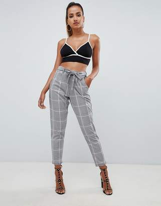 PrettyLittleThing paper bag waist trousers in grey check