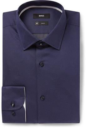 HUGO BOSS Navy Jesse Slim-Fit Pin-Dot Stretch Cotton-Poplin Shirt
