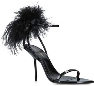 Saint Laurent Patent Inez Feather Embellished Sandals 105