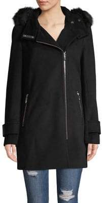 Calvin Klein Asymmetrical-Zip Faux-Fur Trim Coat