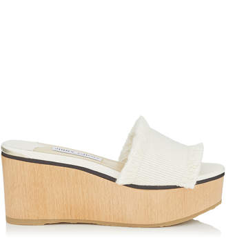 Jimmy Choo DEEDEE 80 Latte Frayed Cotton and Wooden Wedge Sandal