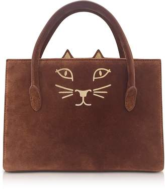 Charlotte Olympia Tan Suede and Natural Linen Feline Petit Poitier Tote Bag