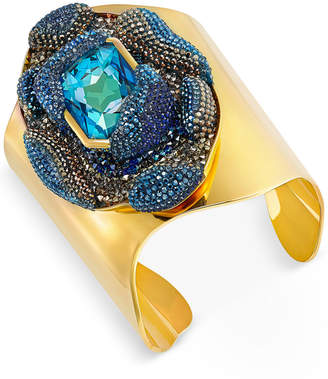 Swarovski Gold-Tone Large Blue Crystal and Pave Open Cuff Bracelet