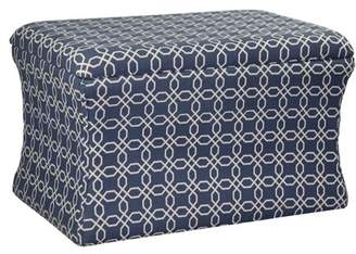 "Ore International 19.25""H Lattice Pouf Blue Storage Ottoman"