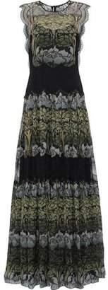 Alberta Ferretti Lace-paneled Printed Silk-chiffon Gown