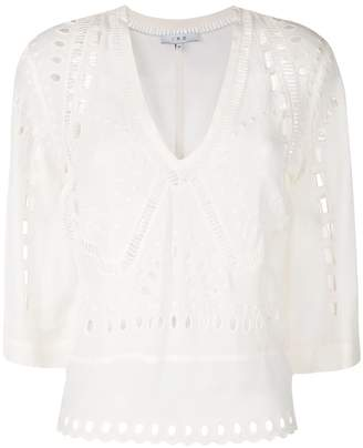 IRO v-neck embroidered blouse