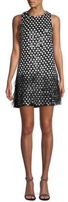 Parker Black Allegra Dot Mini Dress w/ Feather Hem