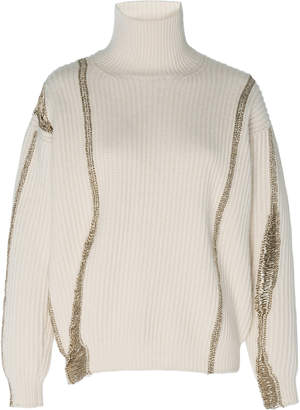 Oscar de la Renta Embellished Merino-Wool And Cashmere-Blend Turtleneck Sweater