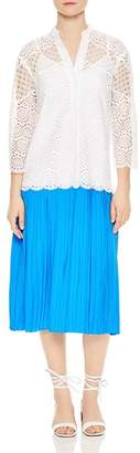 Sandro Maca Eyelet Lace Pleated Skirt Midi Dress